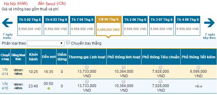 Bảng giá vé máy bay đi Seoul hãng Vietnam Airlines khai thác