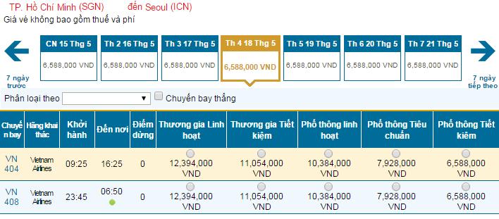 Mua vé máy bay giá rẻ đi Seoul hãng Vietnam Airlines tháng 5/2016