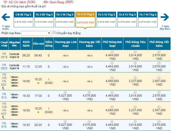 Thông tin giá vé máy bay đi Siem Riep hãng Vietnam Airlines mới nhất