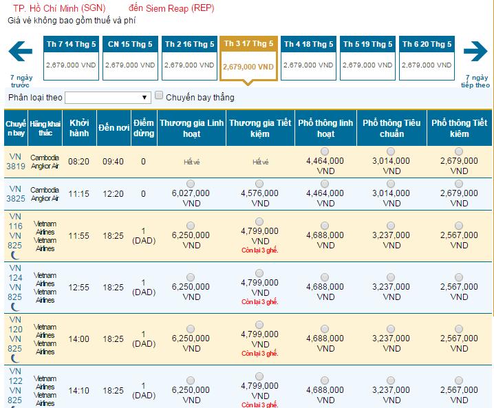 Bảng giá vé máy bay đi Siem Reap hãng Vietnam Airlines khai thác