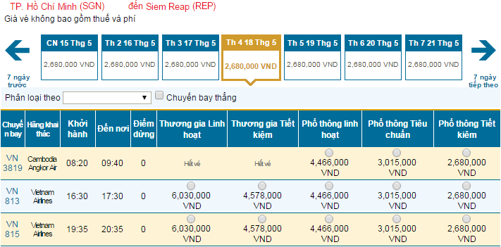 Bảng giá vé máy bay đi Siem Reap hãng Vietnam Airlines