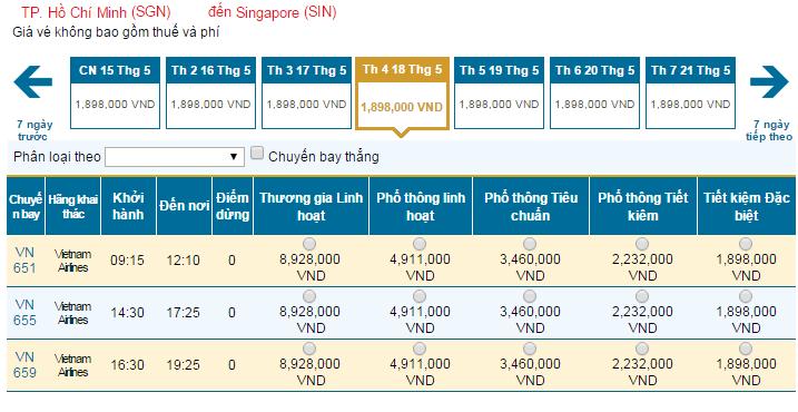 Bảng giá vé máy bay đi Singapore hãng Vietnam Airlines khai thác