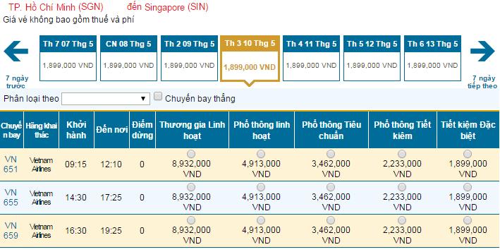Bảng giá vé máy bay đi Singapore Vietnam Airlines cập nhật mới nhất