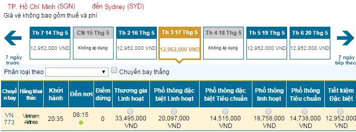 Bảng giá vé máy bay đi Sydney hãng Vietnam Airlines