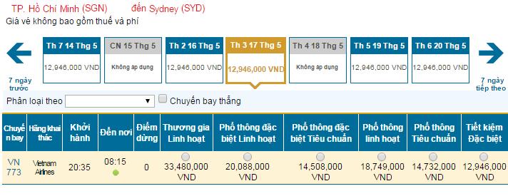 Bảng giá vé máy bay đi Sydney hãng Vietnam Airlines khai thác