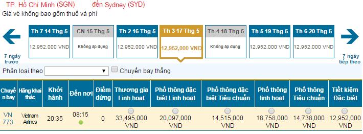 Mua vé máy bay giá rẻ đi Úc hãng Vietnam Airlines tháng 5/2016