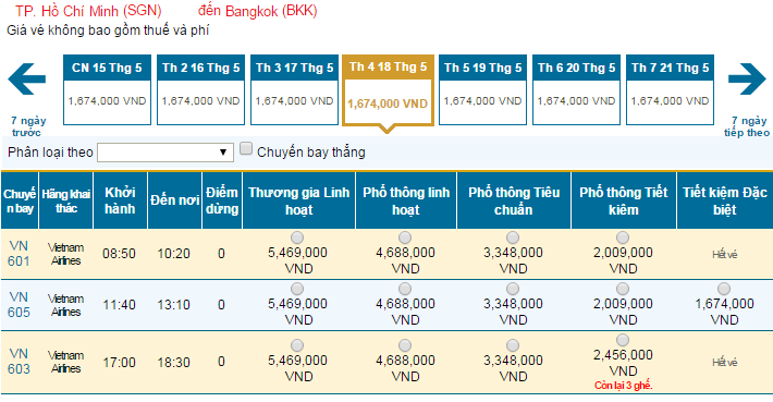 Bảng giá vé máy bay đi Thái Lan hãng Vietnam Airlines khai thác