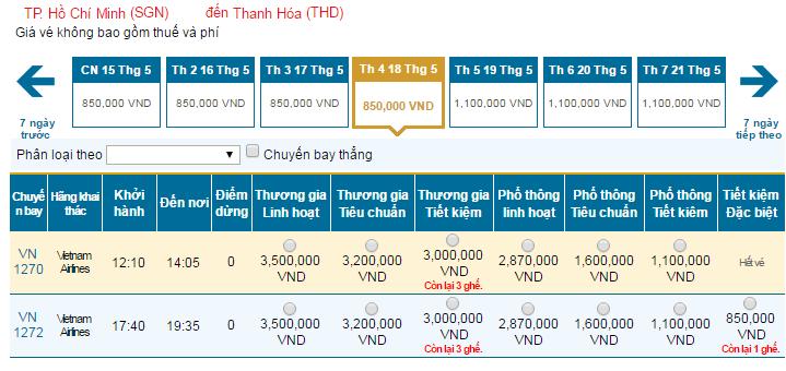 Bảng giá vé máy bay đi Thanh Hóa hãng Vietnam Airlines khai thác
