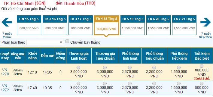 Bảng giá vé máy bay đi Thanh Hóa cập nhật mới nhất hãng Vietnam Airlines