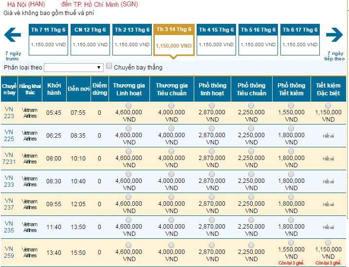 Bảng giá vé máy bay đi TPHCM hãng Vietnam Airlines khai thác