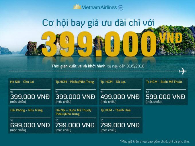 Vietnam Airlines tung vé rẻ chỉ 399.000 đồng