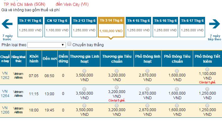 Bảng giá vé máy bay đi Vinh hãng Vietnam Airlines khai thác