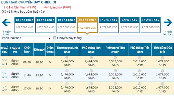Bảng giá vé máy bay đi Bangkok tháng 07 hãng Vietnam Airlines