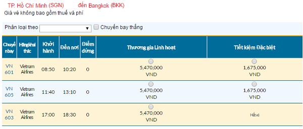 Bản tin vé rẻ đi Bangkok tháng 07 hãng Vietnam Airlines