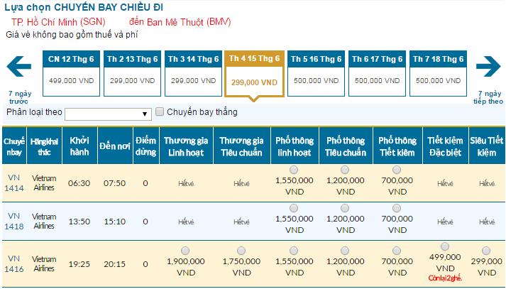 Cập nhật bảng giá vé máy bay đi Buôn Ma Thuột tháng 06