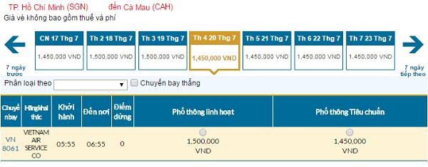 Bản tin Vietnam Airlines: Vé rẻ đi Cà Mau mới nhất