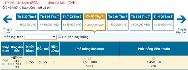 Cập nhật vé rẻ đi Cà Mau tháng 7/2016