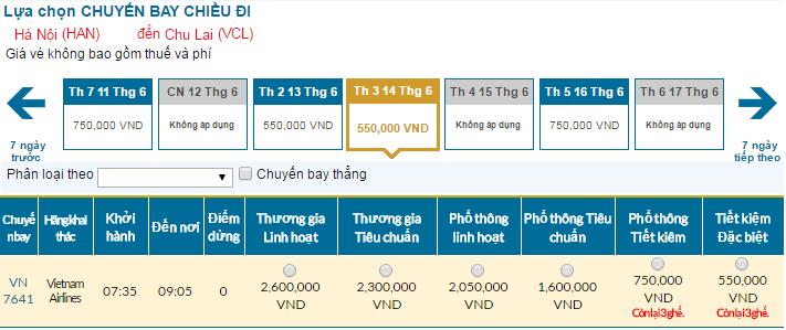 Cập nhật bảng giá vé máy bay đi Chu Lai tháng 06