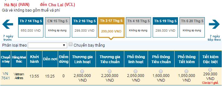 Bản tin Vietnam Airlines: Vé rẻ đi Chu Lai mới nhất