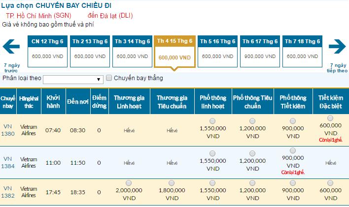 Cập nhật bảng giá vé máy bay đi Đà Lạt tháng 06