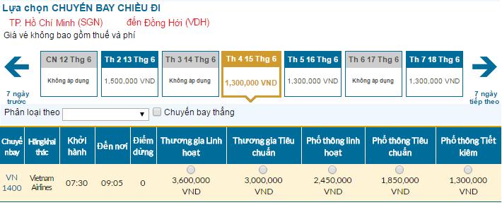 Cập nhật bảng giá vé máy bay đi Đồng Hới tháng 06