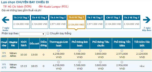 Bảng giá vé máy bay đi Kuala Lumpur cập nhật tháng 07