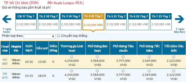 Bản tin vé rẻ đi Malaysia tháng 07 hãng Vietnam Airlines