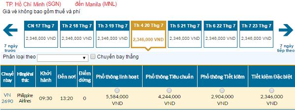 Bản tin vé rẻ đi Philippines tháng 07 hãng Vietnam Airlines