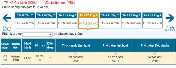 Bản tin vé rẻ đi Melbourne tháng 07 hãng Vietnam Airlines