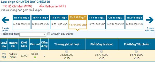 Bảng giá vé máy bay đi Úc cập nhật tháng 07