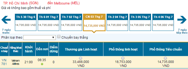Bảng giá vé máy bay đi Melbourne tháng 07 hãng Vietnam Airlines