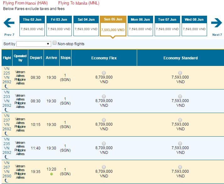 Bảng giá vé máy bay đi Philippines hãng Vietnam Airlines khai thác