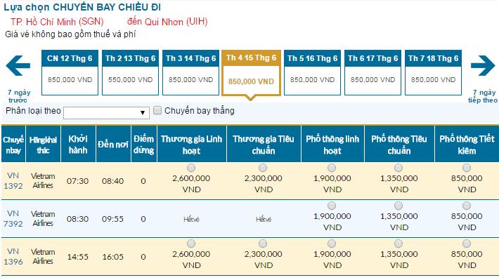 Cập nhật bảng giá vé máy bay đi Quy Nhơn tháng 06