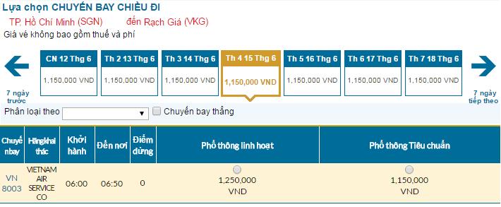 Cập nhật bảng giá vé máy bay đi Rạch Giá tháng 06