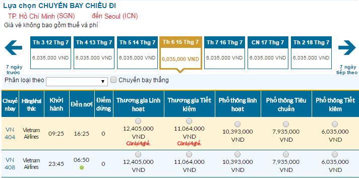 Bảng giá vé máy bay đi Seoul cập nhật tháng 07