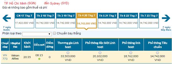 Bản tin vé rẻ đi Sydney tháng 07 hãng Vietnam Airlines