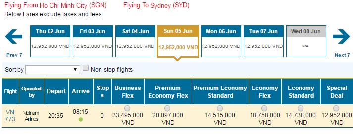 Bảng giá vé máy bay đi Úc hãng Vietnam Airlines khai thác