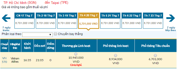 Bản tin vé rẻ đi Đài Loan tháng 07 hãng Vietnam Airlines