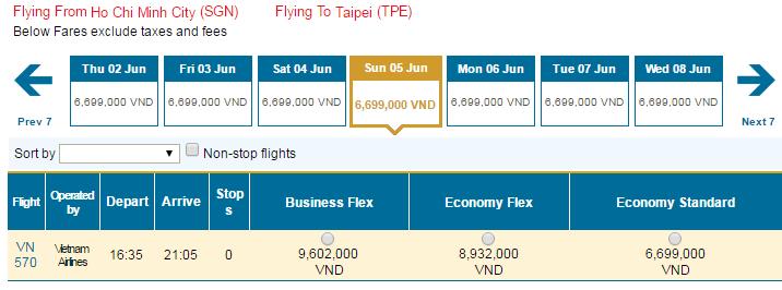 Bảng giá vé máy bay đi Đài Bắc hãng Vietnam Airlines khai thác