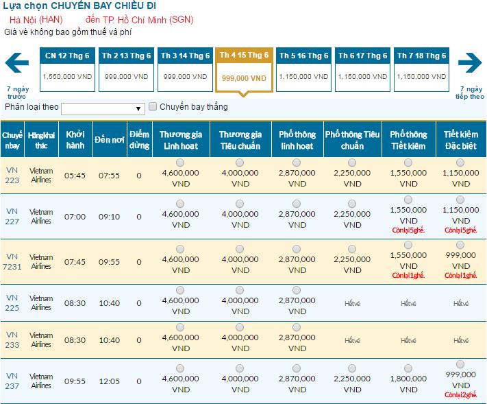 Cập nhật bảng giá vé máy bay đi Sài Gòn tháng 06