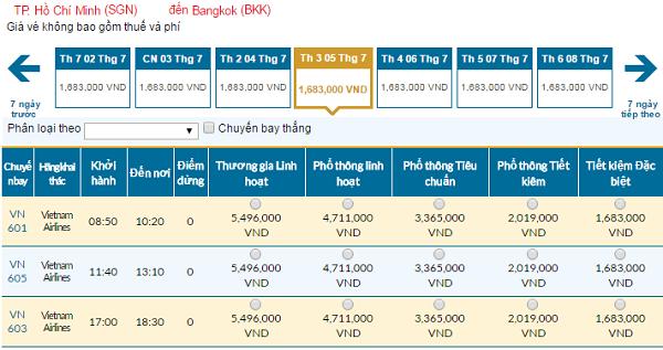 Bảng giá vé máy bay đi Thái Lancập nhật ngày 06-06-2016