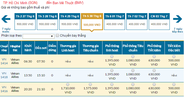 Bảng giá vé máy bay đi Buôn Ma Thuộtcập nhật ngày 04-5-2016