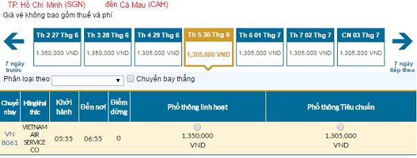 Bảng giá vé máy bay đi Cà Maucập nhật ngày 04-5-2016