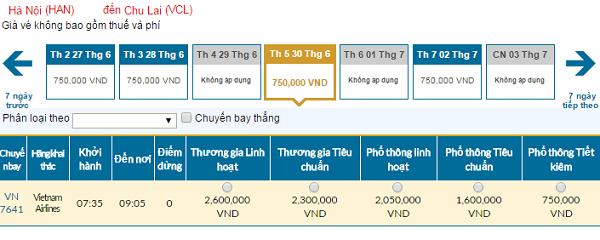 Bảng giá vé máy bay đi Chu Lai cập nhật ngày 05-06-2016