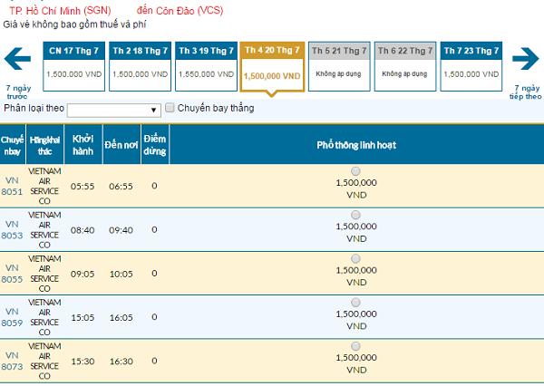 Bảng giá vé máy bay đi Côn Đảocập nhật ngày 8/6/2016