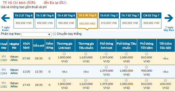 Bảng giá vé máy bay đi Đà Lạtcập nhật ngày 04-5-2016