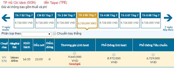Bảng giá vé máy bay đi Đài Loan cập nhật ngày 07-06-2016