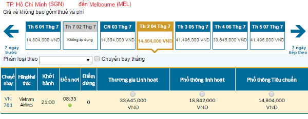 Bảng giá vé máy bay đi Úccập nhật ngày 06-06-2016