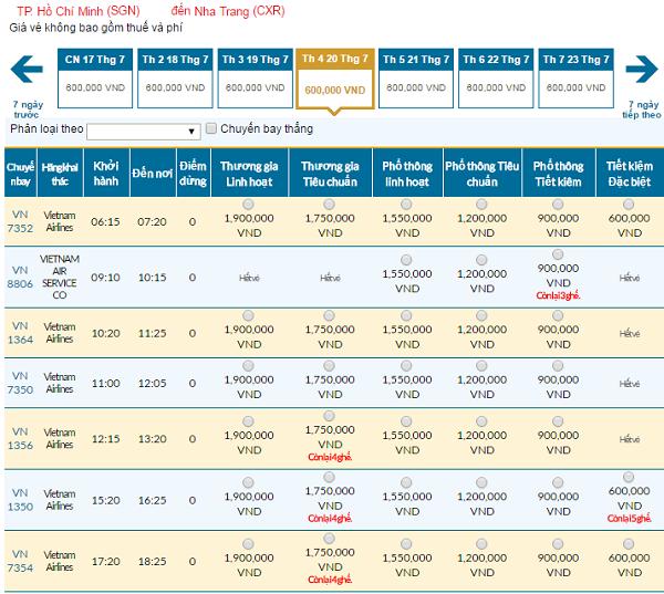 Bảng giá vé máy bay đi Nha Trang cập nhật ngày 8/6/2016