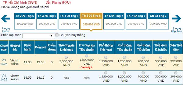Bảng giá vé máy bay đi Pleiku cập nhật 04-03-2016